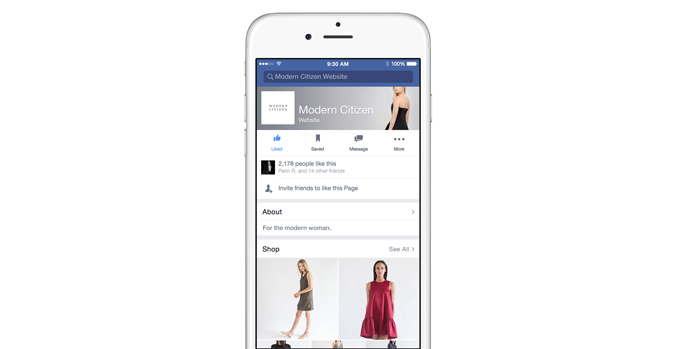 Facebook sezione shop