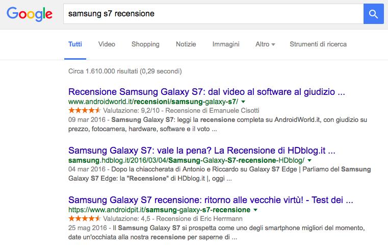 google recensioni per nome